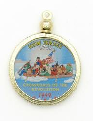 New Jersey State Colored Quarter Pendant