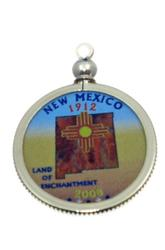 New Mexico State Colored Quarter Pendant