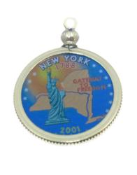 New York State Colored Quarter Pendant
