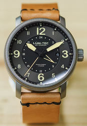 Lum-Tec Watch - Combat B - Super Combat B4 GMT Mens w/ Leather & Nylon Straps - DISCONTINUED