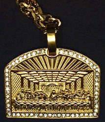 Hip-Hop Jewelry - Large Iced Out Last Supper Pendant w/ 24