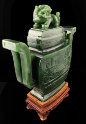 Green Polar Genuine Natural Jade Urn, 11 inches Carved Sculpture