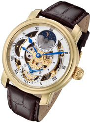Rougois Gold Case Dual Time Zone Watch with White Accents and Moonphase