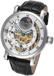 Rougois Silver Case Dual Time Zone with White Accents & Moonphase Display with Black Leather Band