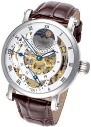 Rougois Silver Case Dual Time Zone with White Accents Moonphase Display with Brown Leather Band