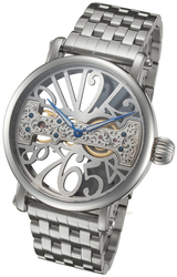 Rougois Skeleton Watch with Bridge Mechanical Movement and Steel Band
