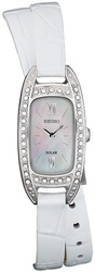 Seiko Solar w/ Swarovski Crystal, Mother-of-Pearl & Extra Leather Bands SUP391 Womens Watch