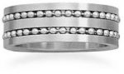 Stainless steel ring with double row of beads