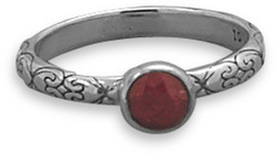 Oxidized Rough-Cut Ruby Ring 925 Sterling Silver