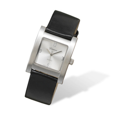 Men's Fashion Watch with Black Faux Leather Band