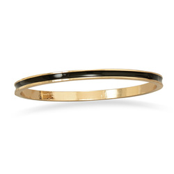 Thin Black Enamel Fashion Bangle Bracelet Gold Tone