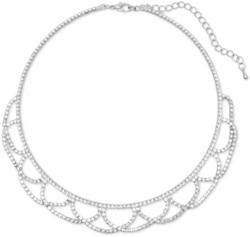 15 + 3.5 Simply Elegant Silver Tone Crystal Lace Fashion Necklace