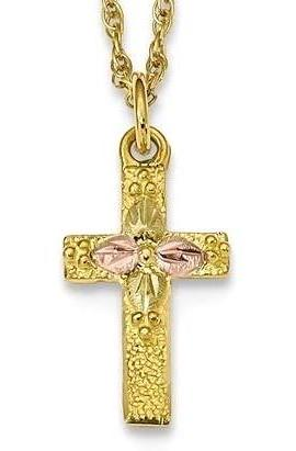 10k Tri-Color Black Hills Gold Cross Necklace 10BH694-18
