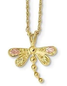 10k Tri-Color Black Hills Gold Dragonfly Necklace