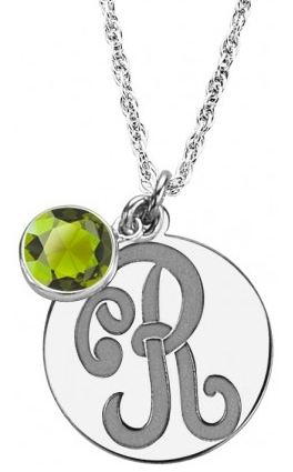 Alison & Ivy - Monogram Initial Disc w/ Colored Stone Necklace 15mm - Customizable Jewelry Collection