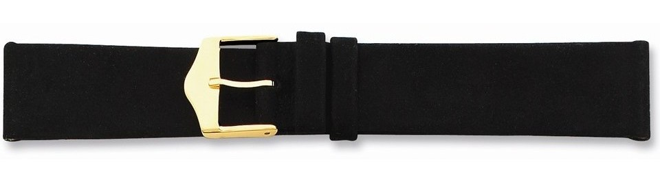 "12mm 6.75"" Black Suede Leather Silver-tone Buckle Watch Band"