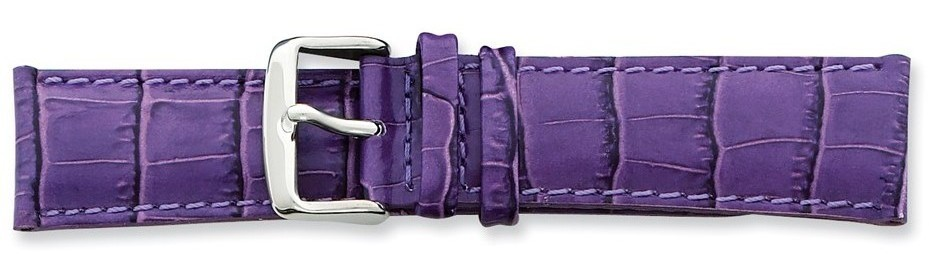 "22mm 7.5"" Violet Crocodile Style Grain Leather Silver-tone Buckle Watch Band"