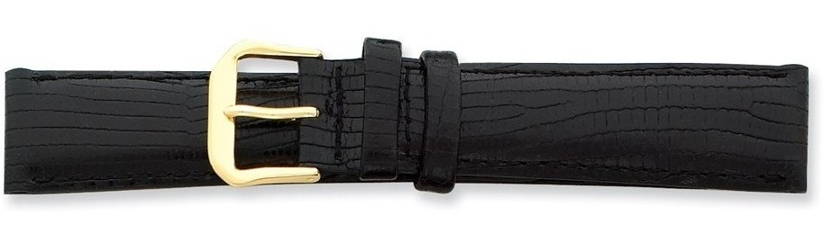 "16mm 7.5"" Black Snake Style Grain Leather Gold-tone Buckle Watch Band"