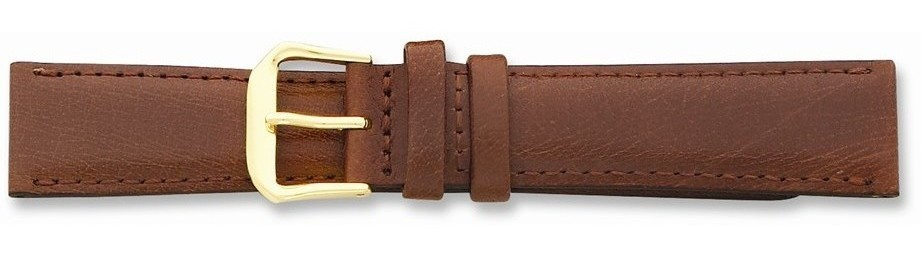 "10mm 6.75"" Havana Smooth Leather Gold-tone Buckle Watch Band"