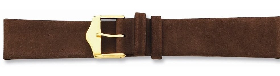 "12mm 6.75"" Brown Suede Leather Gold-tone Buckle Watch Band"