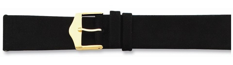 "12mm 6.75"" Black Suede Leather Gold-tone Buckle Watch Band"
