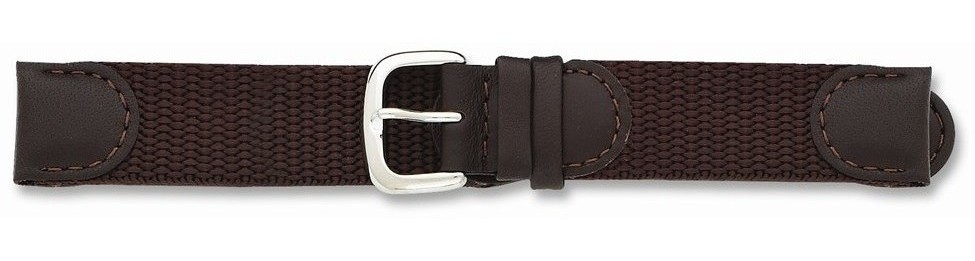"20mm 7.75"" Brown Army Style Fabric Leather Silver-tone Buckle Watch Band"