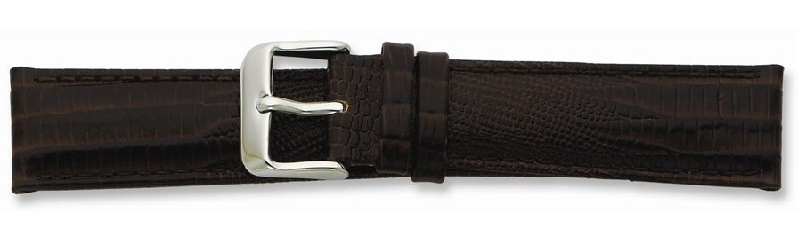 "16mm 7.5"" Brown Teju Lizard Style Grain Leather Gold-tone Buckle Watch Band"