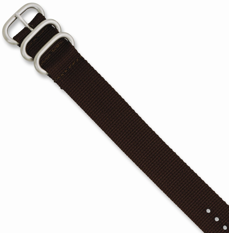 "26mm 10.5"" Brown Military-style Nylon Silver-tone Buckle Watch Band"