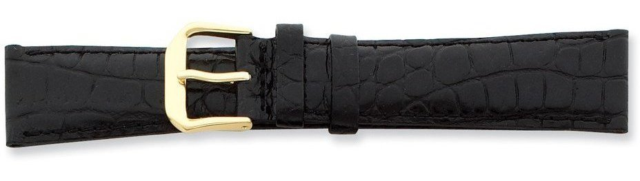 "12mm 6.75"" Black Croc Style Leather Dark Stitch Gold-tone Buckle Watch Band"