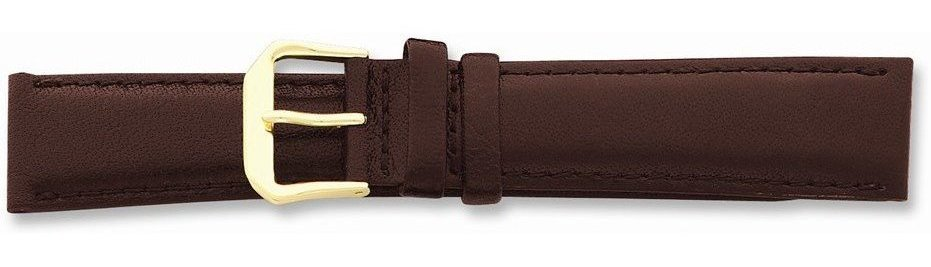 "14mm 6.25"" Short Brown Smooth Leather Gold-tone Buckle Watch Band"