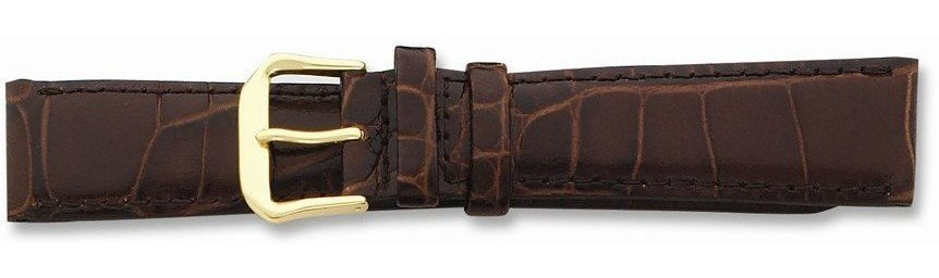 "18mm 7.5"" Brown Croc Style Leather Dark Stitch Gold-tone Buckle Watch Band"