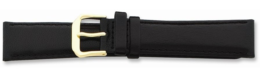 "17mm 7.5"" Black Smooth Leather Gold-tone Buckle Watch Band"