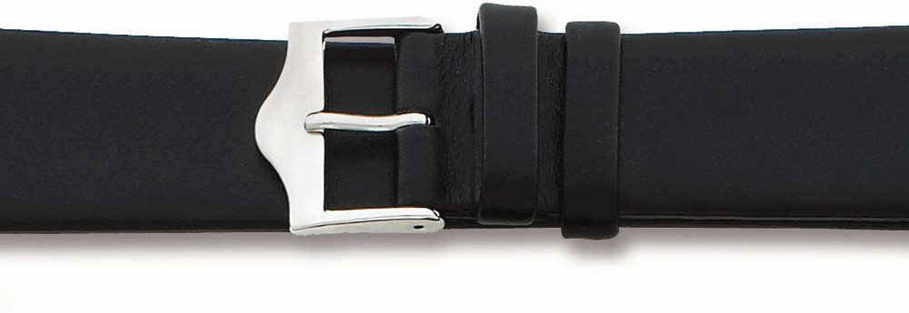 "20mm 7.5"" Flat Black Leather Silver-tone Buckle Watch Band"