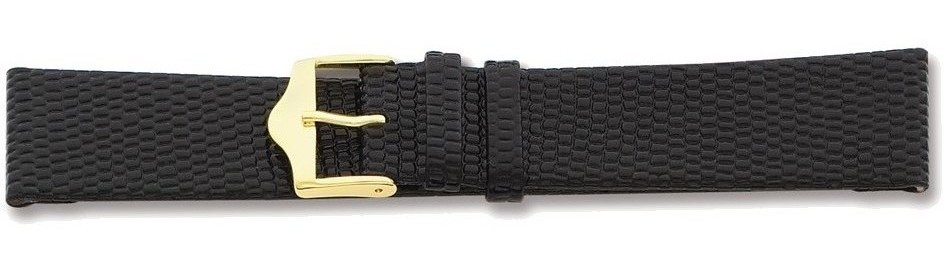 "20mm 7.5"" Flat Black Lizard Style Grain Leather Gold-tone Buckle Watch Band"