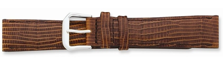"20mm 7.5"" Havana Snake Style Grain Leather Silver-tone Buckle Watch Band"