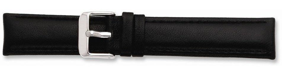 "14mm 6.75"" Black Glove Leather Silver-tone Buckle Watch Band"