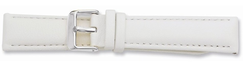 "22mm 7.75"" White Glove Leather Silver-tone Buckle Watch Band"