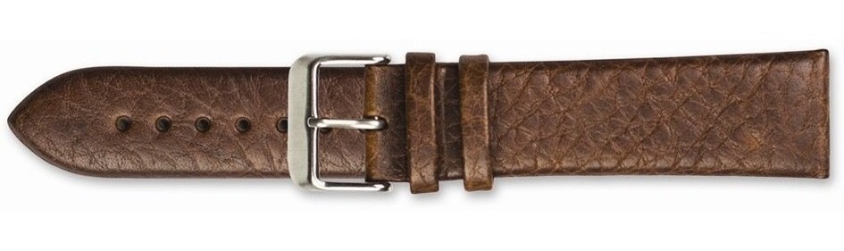 "18mm 7.75"" Brown Distressed Leather Silver-tone Buckle Watch Band"