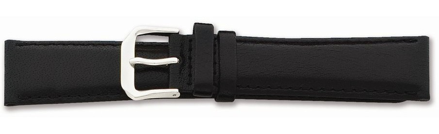 "18mm 7.5"" Black Smooth Leather Silver-tone Buckle Watch Band"