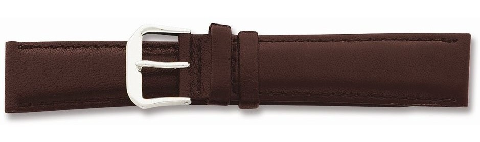 "13mm 6.75"" Brown Smooth Leather Silver-tone Buckle Watch Band"