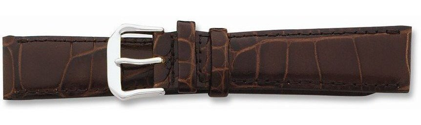 "14mm 6.75"" Brown Croc Style Leather Dark Stitch Silver-tone Buckle Watch Band"