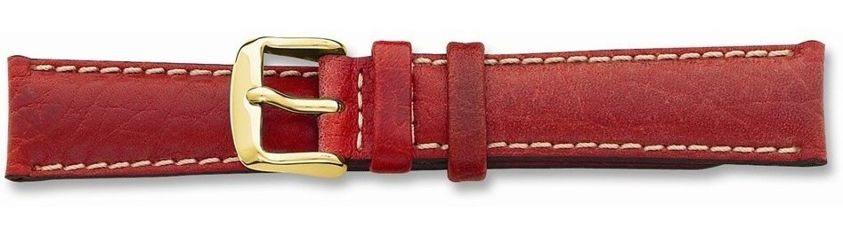 "20mm 7.5"" Red Sport Leather White Stitch Gold-tone Buckle Watch Band"