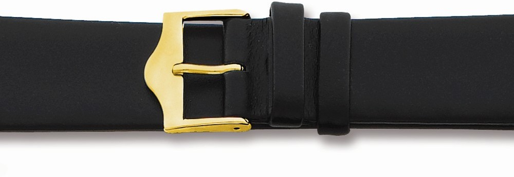 "12mm 6.75"" Flat Black Leather Gold-tone Buckle Watch Band"