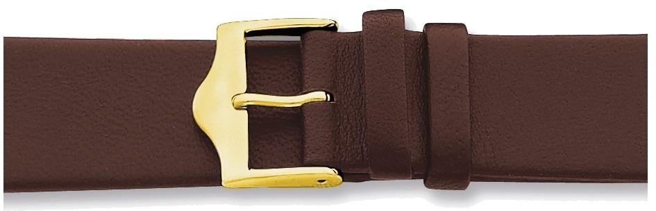 "12mm 6.75"" Flat Brown Leather Gold-tone Buckle Watch Band"