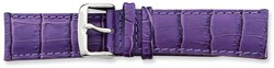 24mm 7.5 Violet Crocodile Style Grain Leather Silver-tone Buckle Watch Band