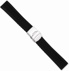 22mm 7.25 Black Lattice Design Silicone Silver-tone Deploy Buckle Watch Band