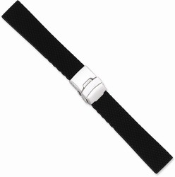 18mm 7.5 Black Textured Silicone Silver-tone Deploy Buckle Watch Band
