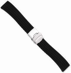 24mm 7.25 Black Striped Silicone Silver-tone Deploy Buckle Watch Band