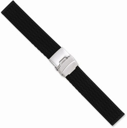 24mm 7.25 Black Tread Design Silicone Silver-tone Deploy Buckle Watch Band
