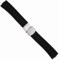 24mm 7.5 Black Link Design Silicone Silver-tone Deploy Buckle Watch Band